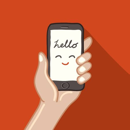 holing: Hand holing smart phone-freehand drawing vector Illustration