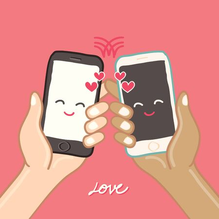 cellphone in hand: Hands are holding Smart Phone for love - freehand drawing vector Illustration