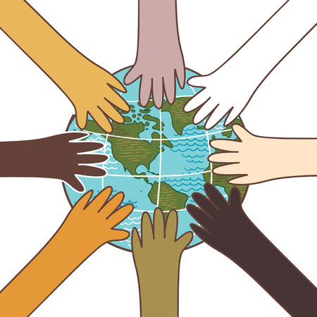 Multiculturalism, environment concept, hands with globe vector Illustration