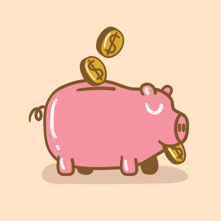 contented: Piggy Bank With Gold Coins Illustration
