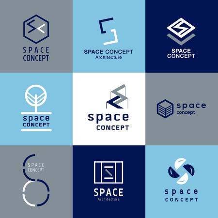 objetos cuadrados: concepto de espacio arquitectura vector logo
