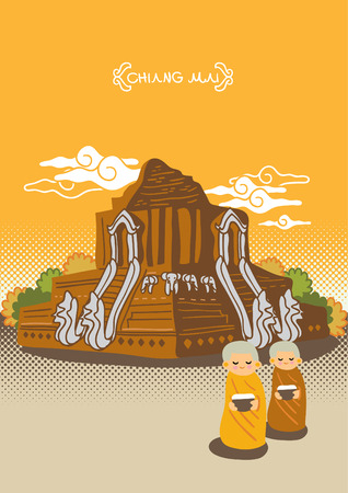 chiang mai: Temple of Northern Province in Thailand freehand drawing vector