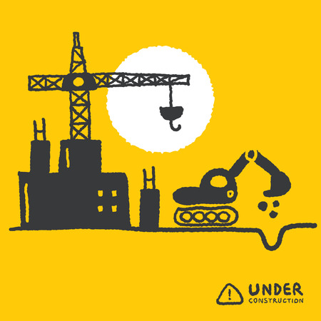 yellowrn: Illustration of under construction site with building, freehand drawing vector Illustration