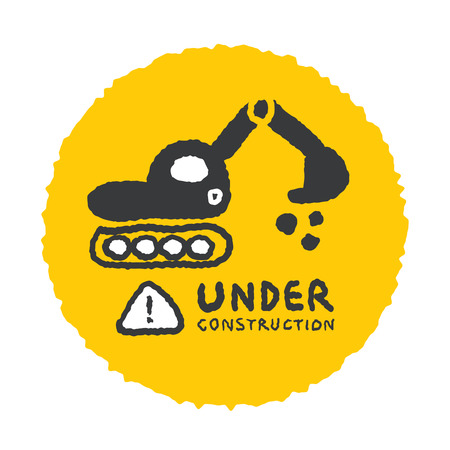 Under construction sign in cartoon style, freehand drawing vector Illustration