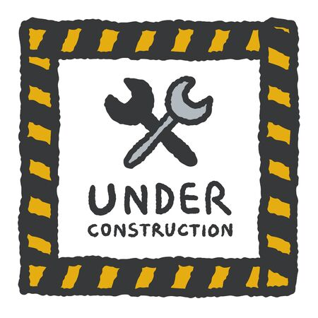 vector sign under construction: Under construction sign in cartoon style, freehand drawing vector Illustration