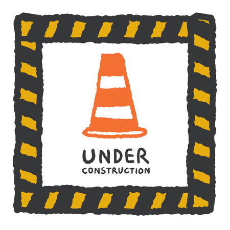Under construction sign in cartoon style, freehand drawing vector Illustration Vector