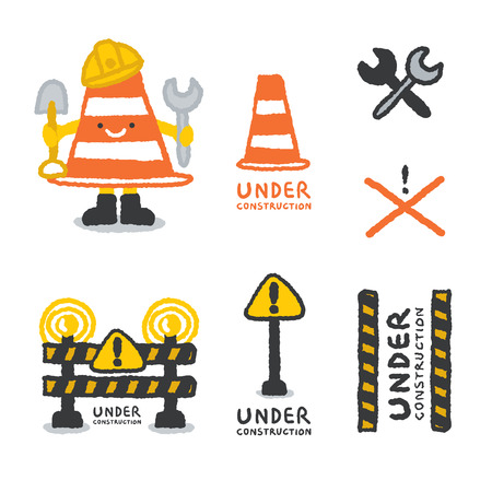 Under construction signs set in cartoon style, freehand drawing vector Illustration Vector