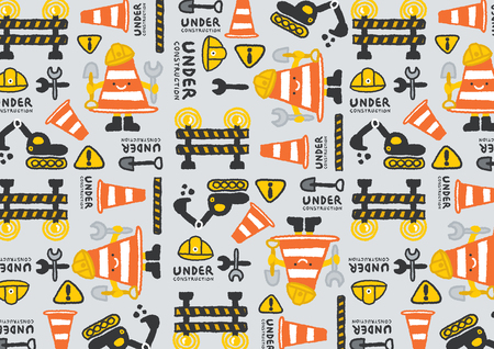 freehand drawing: under construction vector pattern, freehand drawing vector Illustration
