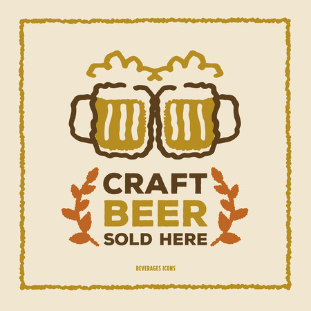 Vintage Style Craft Beer poster, Freehand drawing vector Illustration
