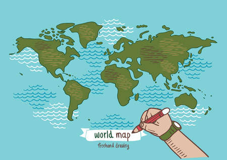Wereldkaart schets vector, uit de vrije hand tekening Stock Illustratie