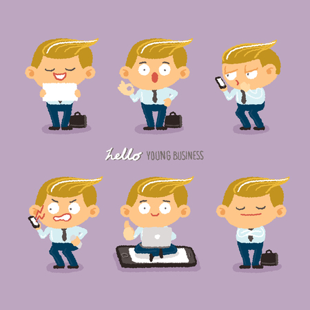 character design: young business character design set - freehand drawing vector Illustration