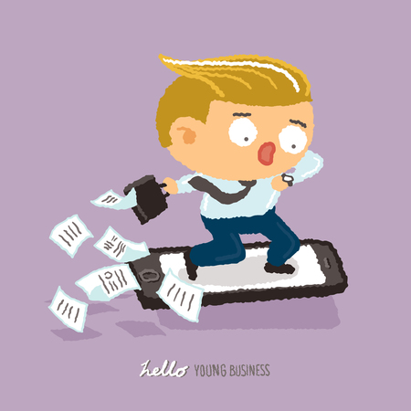 hurry: young business hurry up character design - freehand drawing vector Illustration Illustration