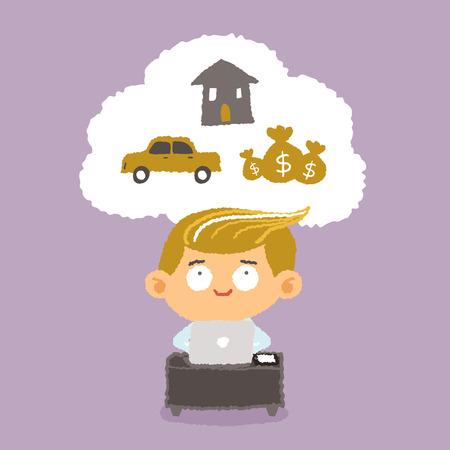 persona feliz: El hombre de negocios sueño - dibujos a mano ilustración vectorial