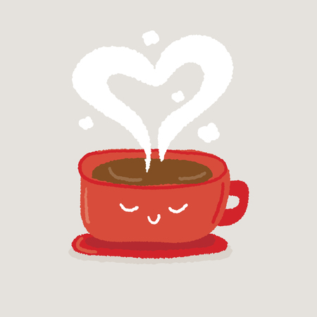 valentine day cup of coffee: hot coffee cup  with smoke - freehand drawing vector Illustration