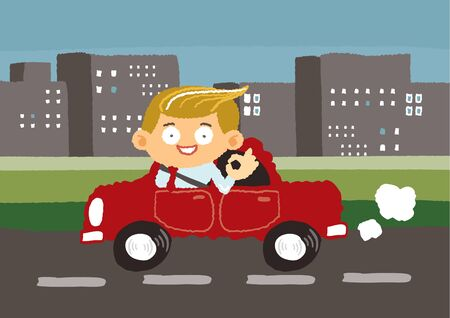 renders: businessman drives car in downtown - freehand drawing vector Illustration