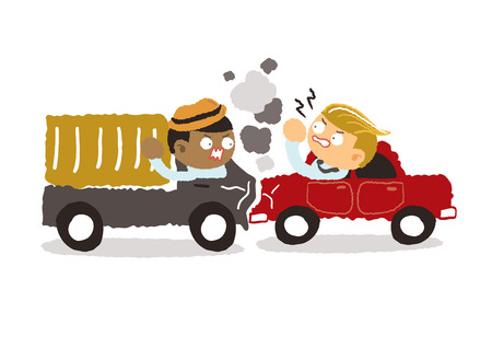 businessman cartoon: car crash in the city on a white background - freehand drawing vector Illustration