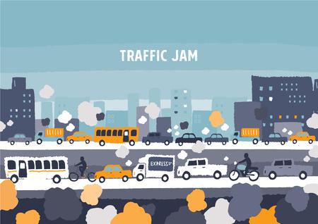 mermelada: atasco de tráfico de coches - dibujos a mano ilustración vectorial