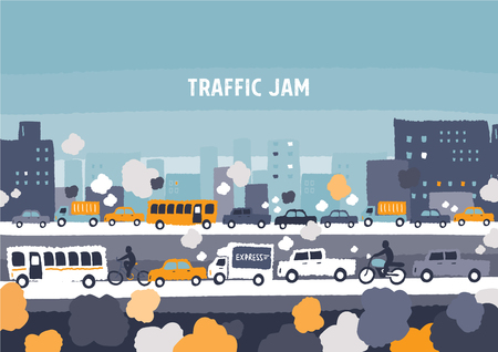 Car traffic jam - freehand drawing vector Illustration