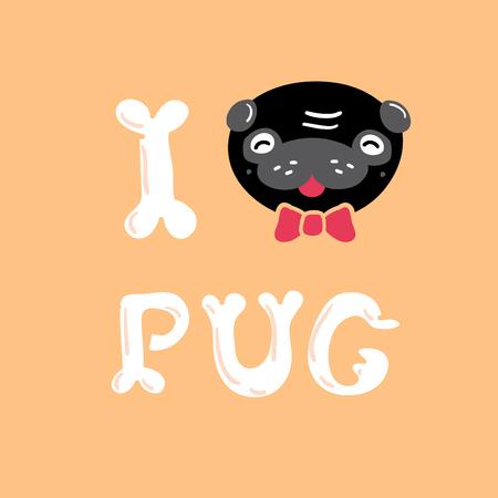 black pug: I love Black Pug vector Illustration card, freehand drawing Illustration