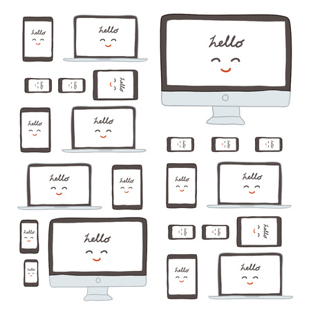 iphon: Modern monitor, computer, laptop, phone, tablet on a white background, freehand drawing vector Illustration Illustration