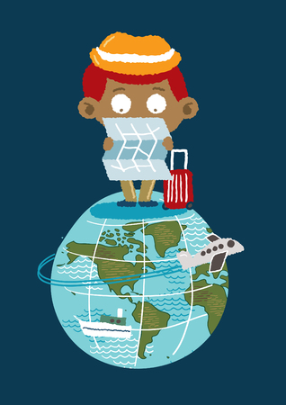 disoriented: Tourism on earth - freehand drawing vector Illustration