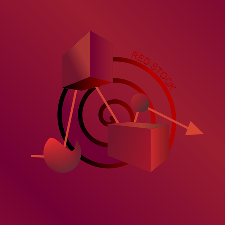 Messy red stock abstract illustration, stock market not going down straight but fluctuated by many big and small factors.