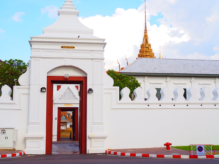 Bangkok, Thailand - October 17, 2017: Tewa Phirom grand palace gate, opened direct straight through Dusit Maha Prasart chapel, will be used for transporting out King Rama IX body in funeral ceremony