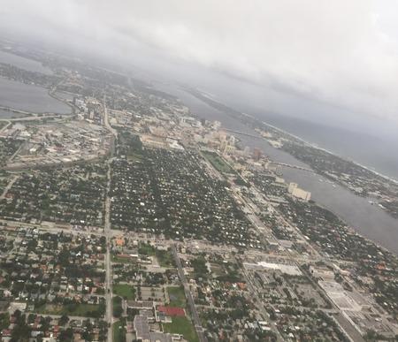Aerial view of Florida coast before hurricane Matthew makes landfall on October 6, 2016 Stock Photo