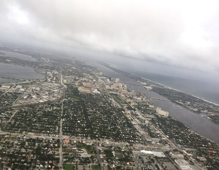 landfall: Aerial view of Florida coast before hurricane Matthew makes landfall on October 6, 2016 Stock Photo