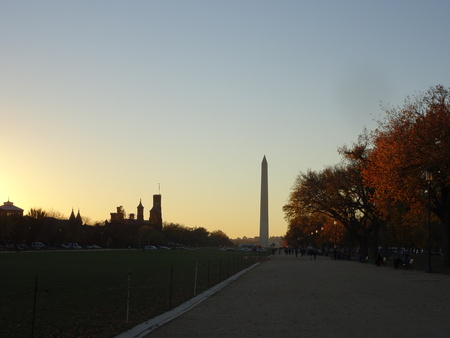 washington monument: sunset during the fall with the washington monument in the background