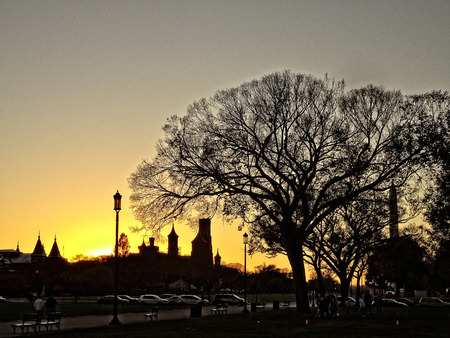 lincoln memorial: sunset during the fall with the washington monument in the background