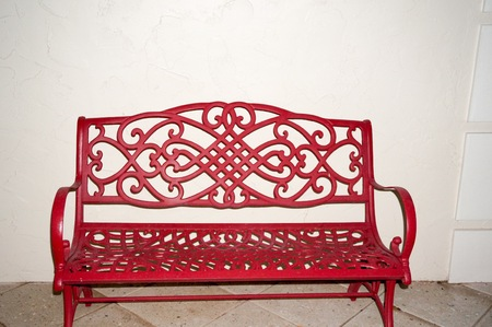 empty red iron bench  on a white background Stock Photo