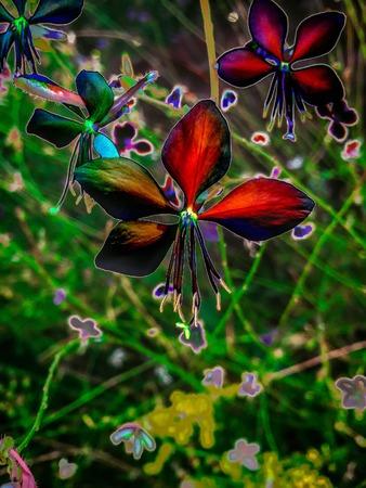 red metallic orchid in bloom digital art