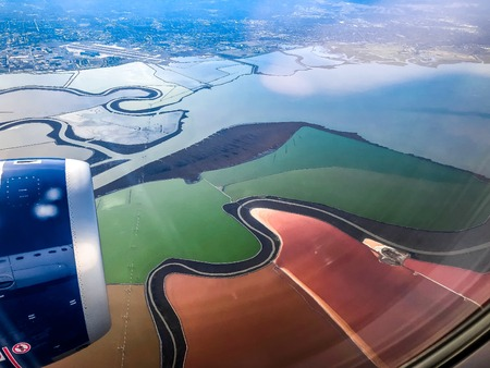 aerial view of the Cargill Salt Ponds in San Francisco, California Stock fotó