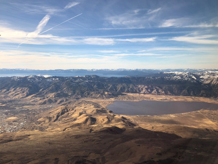 aerial view of Lake Tahoe and Washoe Lake outside of Reno, Nevada Stock Photo - 92650945