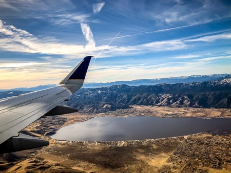 aerial view of Lake Tahoe and Washoe Lake outside of Reno, Nevada Stock Photo - 93268907