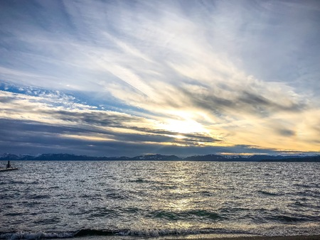 sunset over Lake Tahoe and silhouettes