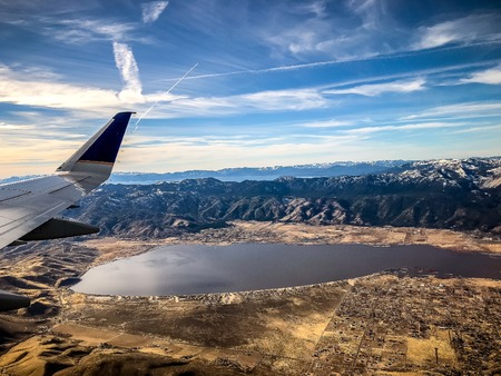 aerial view of Lake Tahoe and Washoe Lake outside of Reno, Nevada