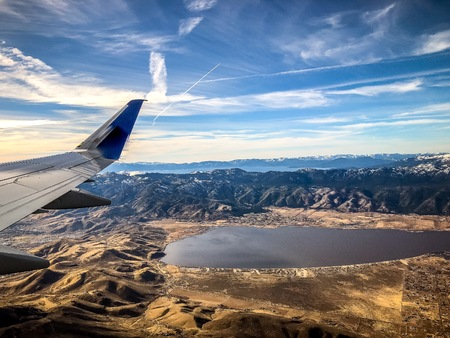 aerial view of Lake Tahoe and Washoe Lake outside of Reno, Nevada from airplane