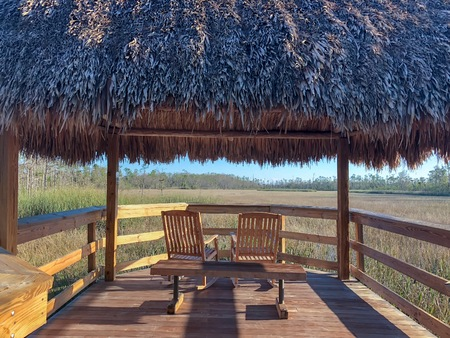 tiki hut in the wetlands of Florida Stock Photo