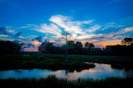 reflection of cypress swamps and sunsets Stock Photo