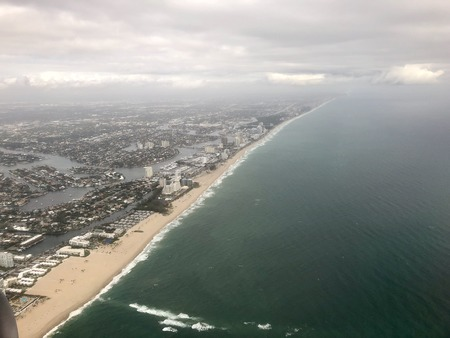 aerial view of the south Florida coast during a storm