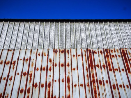 pattern of a rusty metal building wall