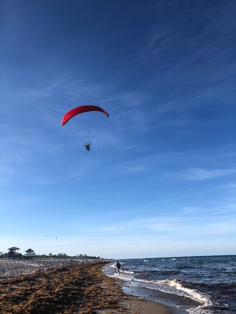 power hang glider on the beach