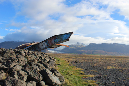 Skeidararsandur glacier and monument to the destroyed bridge. Iceland.