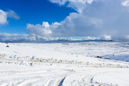 snow covered mountain top of the Langjokull Glacier in the Golden Circle of Icleand. Stock Photo