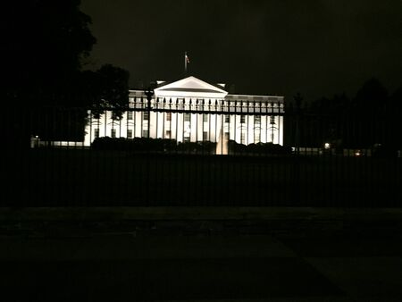 the White House lit up at night Stock Photo
