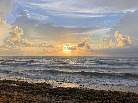 stormy sunrise on Florida beach during hurricane season Stock Photo