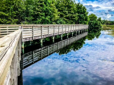 elevated boardwalk in an outdoor park in the swamp Stock Photo
