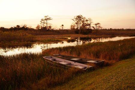 tin boats in a Louisiana swamp